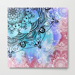 Bohemian Secret Blue & Pink Mandala Design Metal Print