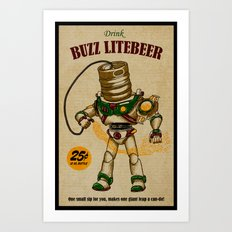 Buzz Lite-Beer Ad Art Print