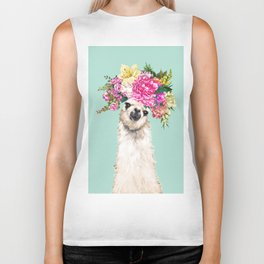 Flower Crown Llama in Green Biker Tank