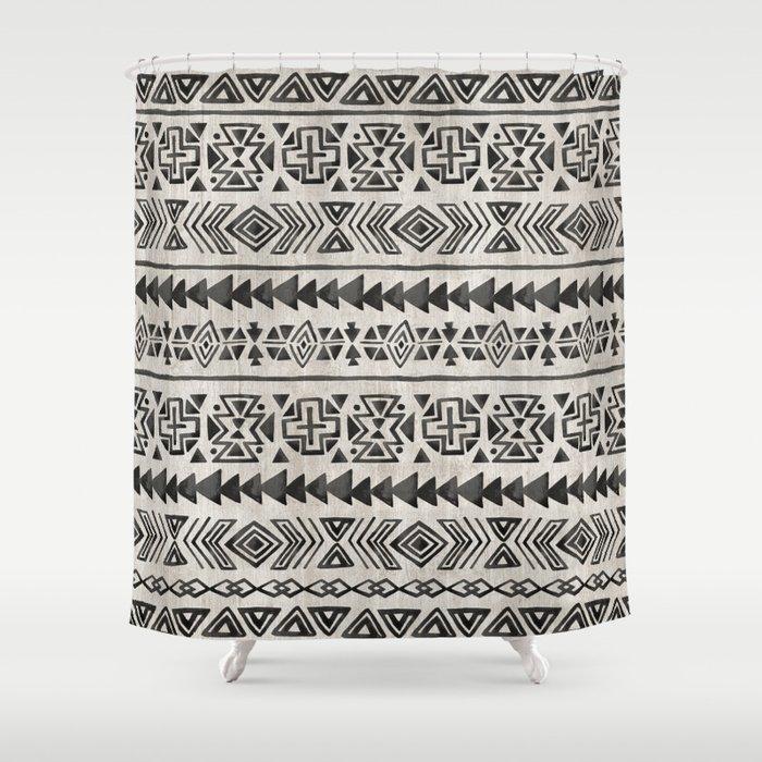 Boho Tribal Black Cream Geometric, Black And Cream Shower Curtain