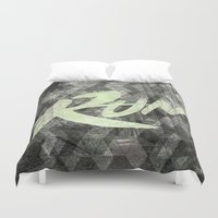 run Duvet Covers featuring Run by Abner Melara