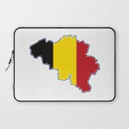 Belgium Map with Belgian Flag Laptop Sleeve