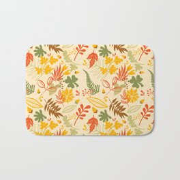 Fall orange forest green pastel country chic floral Bath Mat
