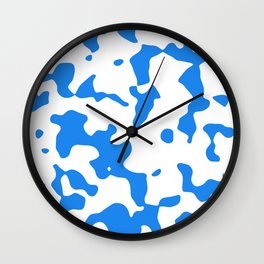 Large Spots - White and Dodger Blue Wall Clock