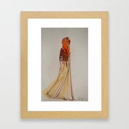 red haired girl fashion illustration Framed Art Print