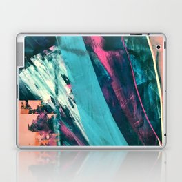 Wild [7]: a bold, colorful abstract mixed-media piece in teal, orange, neon blue, pink and white Laptop & iPad Skin