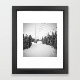Ski Chair Lift B&W \\ Deep Snow Season Pass Dreams \\ Snowy Winter Mountains Landscape Photography Framed Art Print