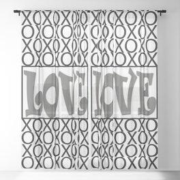 Pantone Pewter LOVE XOs (Hugs and Kisses) Typography Art Sheer Curtain