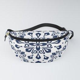 Oriental Damask blue on white #2 Fanny Pack