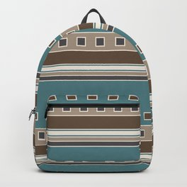 Squares and Stripes in Brown and Teal Backpack