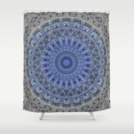 Gray and blue mandala Shower Curtain