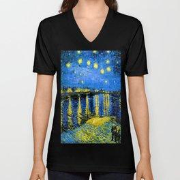 Van Gogh Starry Night Over the Rhone Unisex V-Neck