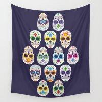 dia de los muertos Wall Tapestries featuring Dia de los muertos by ewdondoxja