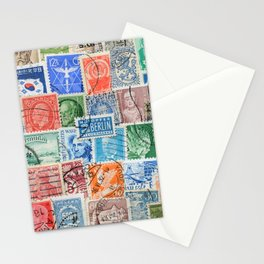 Collection of stamps mail of the different countries. Vintage illustration pattern Stationery Cards