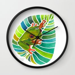 Frog On A Leaf Wall Clock