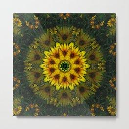 Large Yellow Wildflower Kaleidoscope Art 7 Metal Print