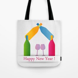 New year greetings with House formed with many colorful bottles and glasses Tote Bag