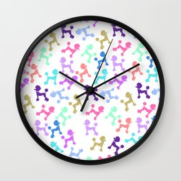 Modern whimsical neon color cute fashion poodle Wall Clock