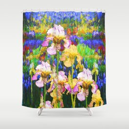 BLUE YELLOW IRIS GARDEN REFLECTION Shower Curtain