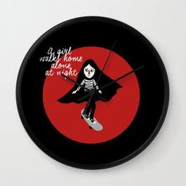 A girl walks home alone at night  Wall Clock