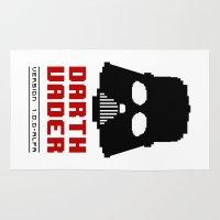 8 bit Area & Throw Rugs featuring 8-bit Darth Vader by Sylwia Borkowska