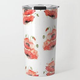 Poppy flowers watercolor Travel Mug