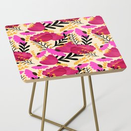 Vibrant Floral Wallpaper Side Table