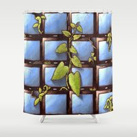 technology Shower Curtains featuring Technology Vs Nature  by The Art Experiment co