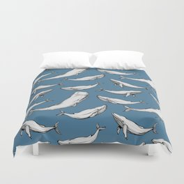 Whales in blue Duvet Cover