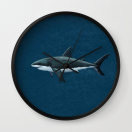 """""""Carcharodon carcharias"""" by Amber Marine  ~ Great White Shark Art, (Copyright 2015) Wall Clock"""