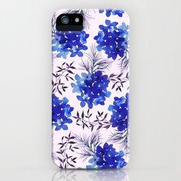 Watercolor lilac lavender blue hortensia floral leaves iPhone Case