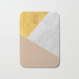 Carrara Marble with Gold and Pantone Hazelnut Color Bath Mat