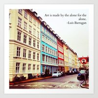 denmark Art Prints featuring Copenhagen Denmark by ©valourine