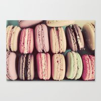 macarons Canvas Prints featuring Macarons by elle moss