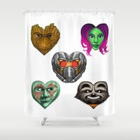 guardians of the galaxy Shower Curtains featuring Guardians of the Galaxy Hearts by Sam Skyler