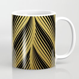Golden leaves, gold glitter abstract waves illustration pattern Coffee Mug