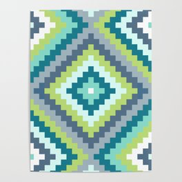 Aztec Diamond Block Ptn Teals Blues Lime White Poster