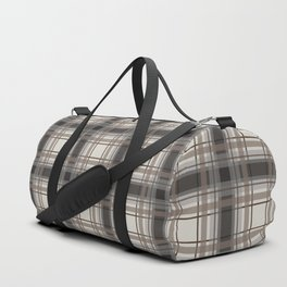 Brown Plaid with tan, cream and gray Duffle Bag