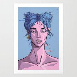 Glitch girl Art Print