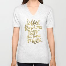 Coffee & Wine – Gold Unisex V-Neck