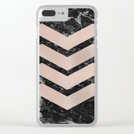 Black marble & rose gold chevrons Clear iPhone Case