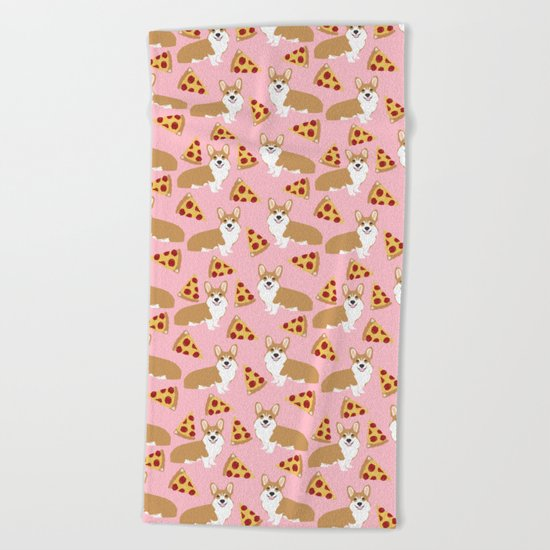 Welsh Corgi Pizza pattern funny dog art customized pet portrait children fur baby must have corgi  Beach Towel