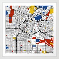 los angeles Art Prints featuring Los Angeles by Mondrian Maps