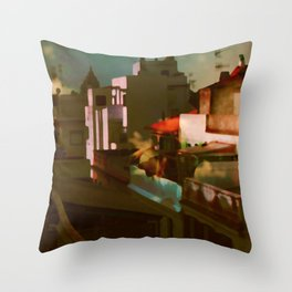 Summer in the cit Throw Pillow