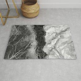 Elegant black white silver glitter marble Rug