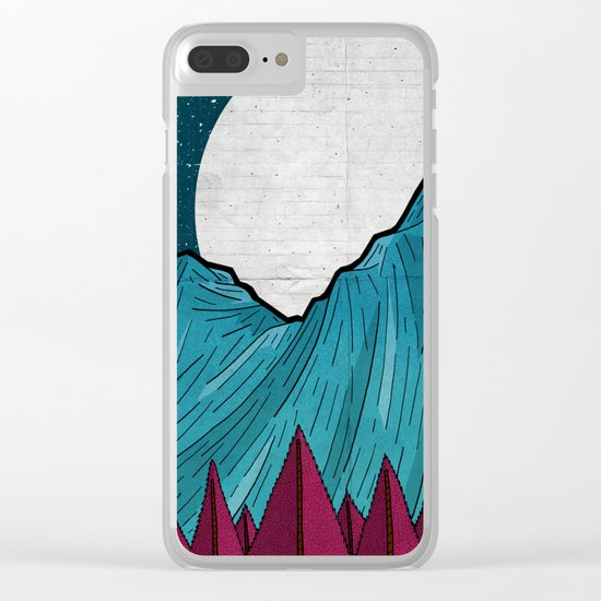 Two moons over the mountain Clear iPhone Case