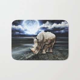 Rhino under the Moon Bath Mat