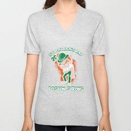 St. Patrick's Day Boston Strong Vigorous Leprechaun Unisex V-Neck