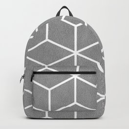 Light Grey and White - Geometric Textured Cube Design Backpack