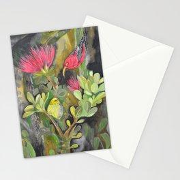 'Iwi'i and Maui 'Alauhio in Red Ohia Lehua Tree Stationery Cards
